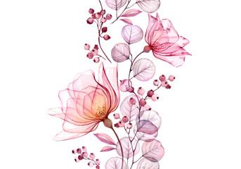 Fototapeta Róże Transparent watercolor rose. Seamless vertical border floral illustration. Isolated hand drawn arrangement with berries for wedding design, stationery card print