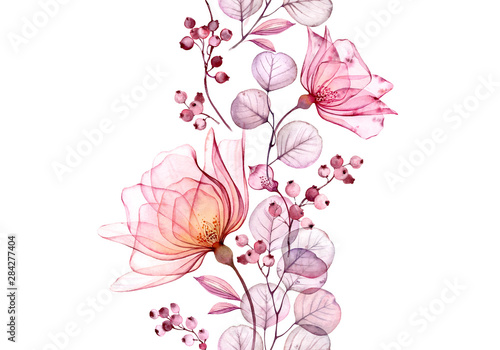 Obraz Transparent watercolor rose. Seamless vertical border floral illustration. Isolated hand drawn arrangement with berries for wedding design, stationery card print - fototapety do salonu