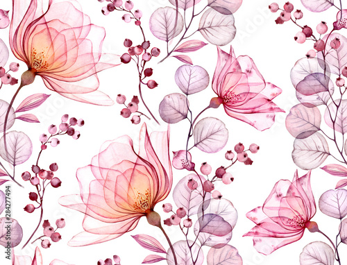 Photo  Transparent rose watercolor seamless pattern