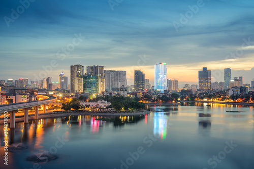 Staande foto New York Aerial skyline view of Hanoi at Hoang Cau lake. Hanoi cityscape by sunset period