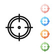 Black Target sport for shooting competition icon isolated on white background. Clean target with numbers for shooting range or shooting. Set icons colorful. Vector Illustration