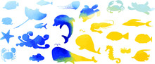 Collection Of Underwater Life Ink Doodles  With Watercolor Texture. Sea Animals And Fish. Vector Stock Set. Cute Icons. Can Be Used For Printed Materials. Ocean Background. Hand Drawn Design Elements.