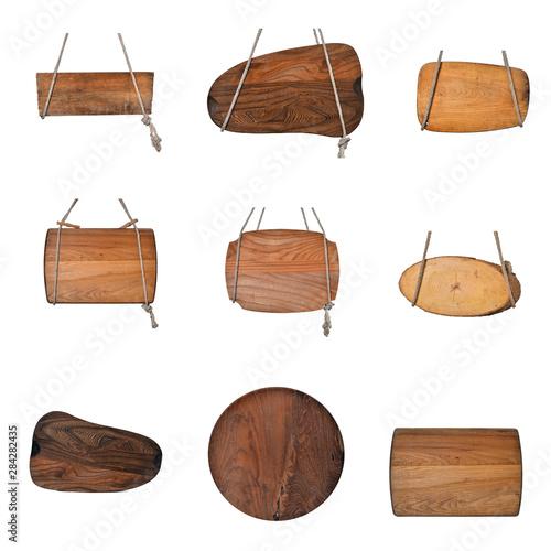 Set alte Holzschilder mit Seilen Strick Wallpaper Mural