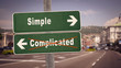 canvas print picture - Street Sign Simple versus Complicated