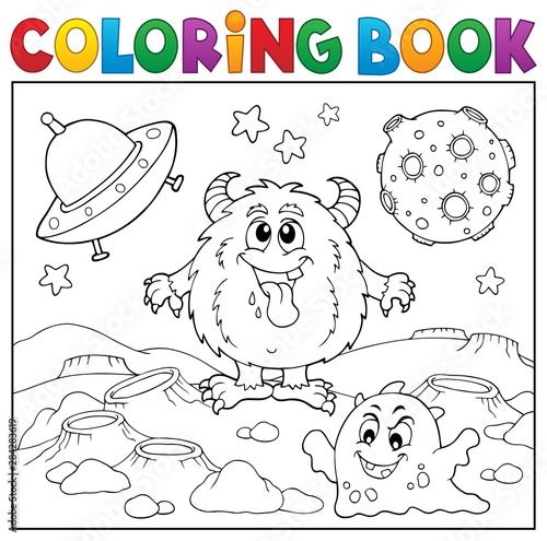 Fotobehang Voor kinderen Coloring book monsters in space theme 1