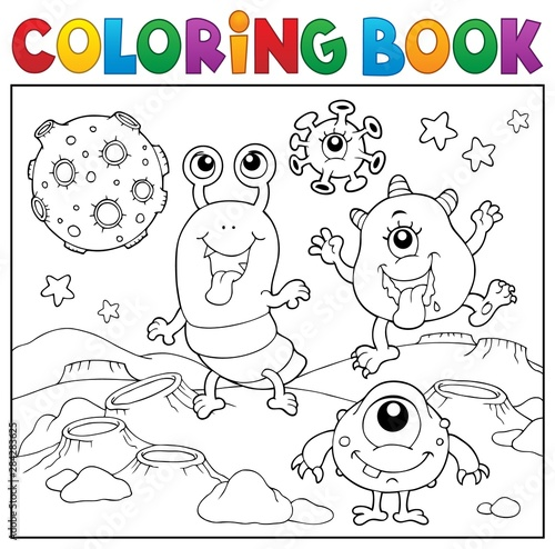 Fotobehang Voor kinderen Coloring book monsters in space theme 2