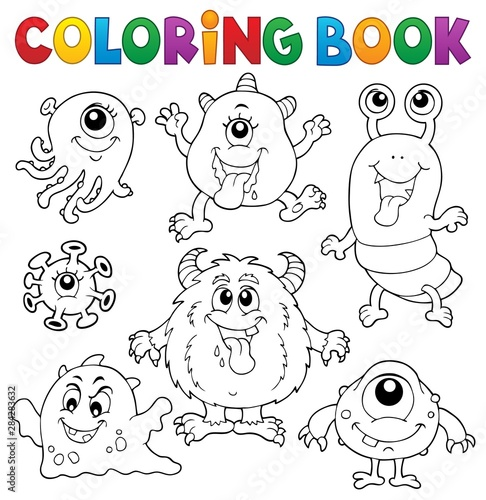 In de dag Voor kinderen Coloring book monsters theme set 1