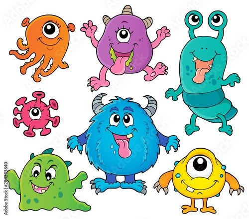 Fotobehang Voor kinderen Various monsters theme set 1