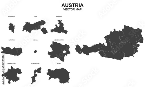 vector map of Austria on white background Tapéta, Fotótapéta