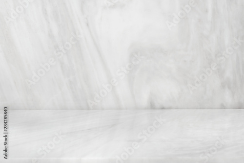 Fototapeta White Marble product stand, Marbling floor background top view for display your packaging or mock-up design template. obraz
