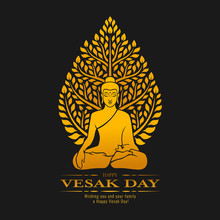 Happy Vesak Day - Gold Buddha Meditate Under Bodhi Tree On Dark Background Vector Design