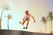 Skateboarder Is Performing Tri...