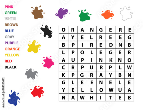 Word search for kids. Learn english vocabulary. Study colors ...