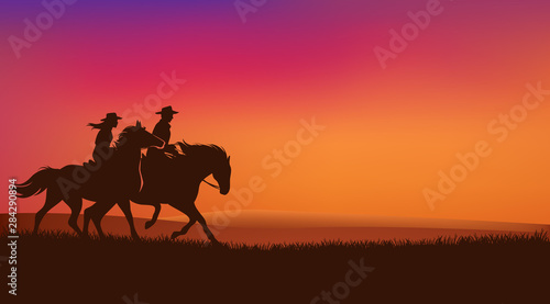 Fotomural cowgirl and cowboy riding horses in romantic sunset prairie field - wild west ra