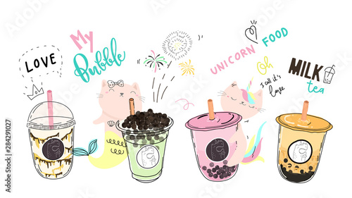 Photo Bubble tea cup design collection,Pearl milk tea , Yummy drinks, coffees and soft drinks with doodle style banner