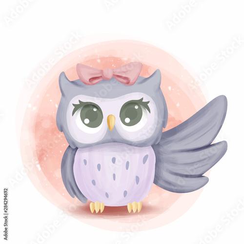 Foto op Aluminium Uilen cartoon Cute Baby Owl Rise the Wing
