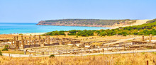 Panoramic View Of The Baelo Claudia Archaeological Site With The Bolonia Beach In The Tarifa, Cadiz. Andalusia, Spain.