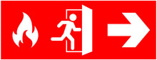 Emergency Fire Exit Sign. Runn...