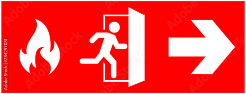 Leinwand Poster emergency fire exit sign