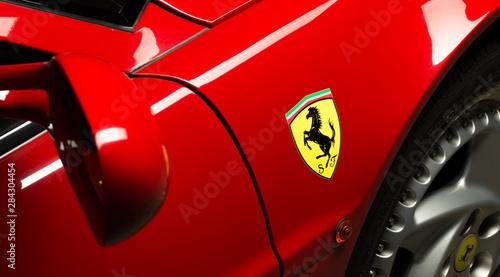 Aachen, Germany, June 14, 2013: Arranged Street shot of an historic Ferrari 512B testarossa Car Poster Mural XXL