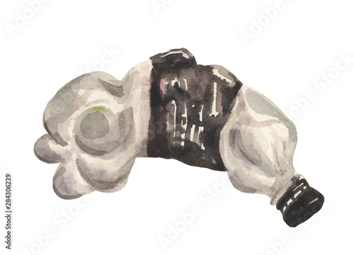 Fotografie, Obraz  Watercolor, crumpled plastic bottle for a sweet carbonated drink, for design com