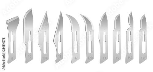 Obraz na płótnie Set of interchangeable blades for a surgical scalpel