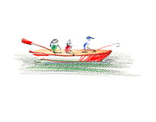Pencils Hand-drawn Sketch. Etude Three People In A Red Kayak. Illustration Isolated On White