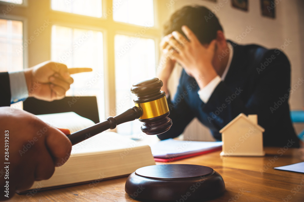 Fototapeta Businessman feels stressed when filed for bankruptcy, bankruptcy and execution concept.