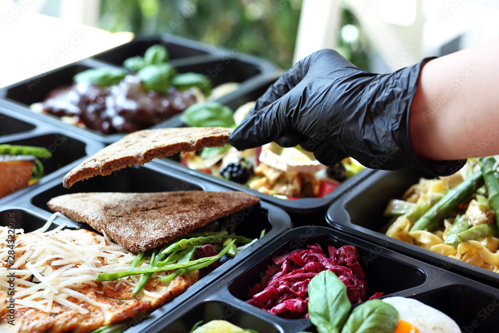 Fototapety, obrazy: Healthy meal prep. Diet with home delivery