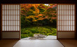 canvas print picture - Autumn colors framed by traditional Japanese sliding doors and tatami mats