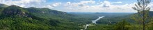 Wide Panorama Of Lake Lure In North Carolina, United States, As Seen From Chimney Rock