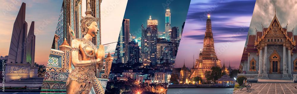 Fototapeta Bangkok city famous landmarks collage.