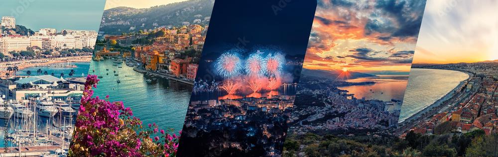 Fototapety, obrazy: French Riviera photos collage.