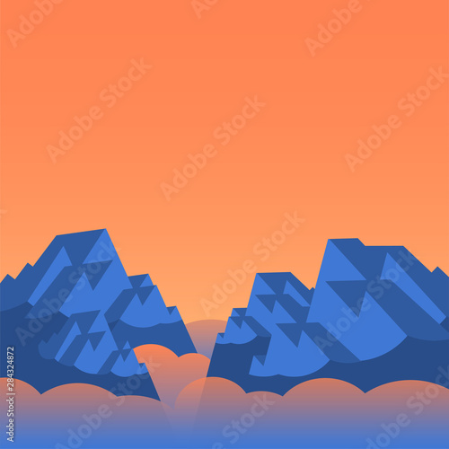 Poster Bleu nuit Rocky blue mountains in the fog and orange sky. Vector illustration for background.
