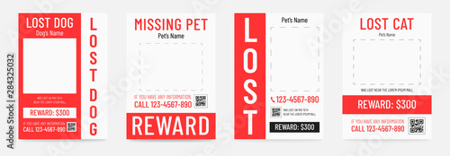 Foto Lost dog poster, missing pet banner template