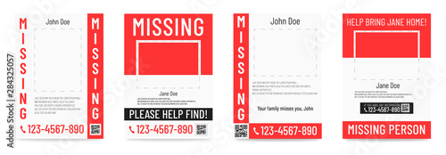 Fényképezés  Missing person poster Help to find placard template