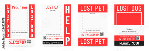 Lost cat pr dog poster, missing pet banner template Canvas-taulu