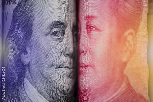 Face to face of Benjamin Franklin and Mao Tse tung from US dollar and China Yuan banknote Wallpaper Mural