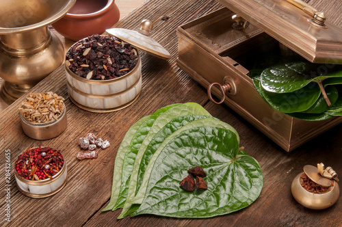 Photo Paan leaf and betel nut