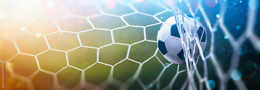 Fototapety, obrazy: Soccer Ball in Goal Multicolor Background