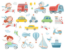 Cartoon Set With  Baby Pilots, Drivers And Transport.