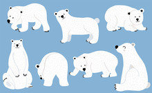 Simple White Bear Character.Us...