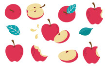 Cute Apple Object Collection.Whole, Cut In Half, Sliced On Pieces Apple. Vector Illustration For Icon,logo,sticker,printable