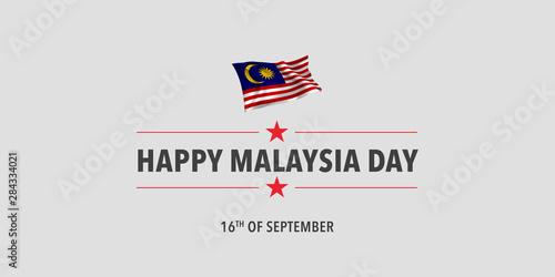 Cuadros en Lienzo  Happy Malaysia day greeting card, banner, vector illustration.