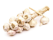 Garlic String With Separate Bulb And Clove Isolated On White Background
