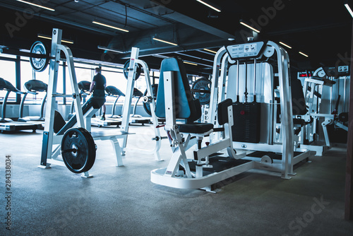 Fotografia  gym interior with equipment.fitness center interior