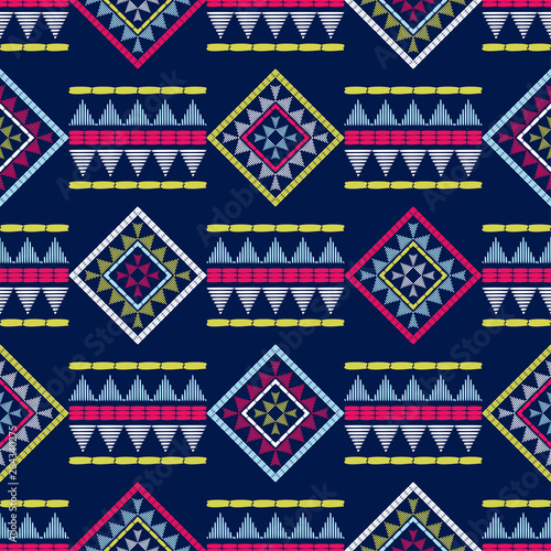 Foto auf Gartenposter Boho-Stil Ethnic boho seamless pattern. Lace. Embroidery on fabric. Patchwork texture. Weaving. Traditional ornament. Tribal pattern. Folk motif. Can be used for wallpaper, textile, wrapping, web.