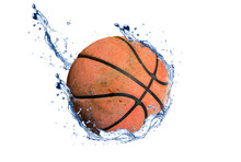 Old Basketball Isolated From Water Spread The Background