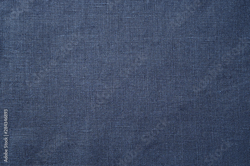 Carta da parati Fabric closeup. Dark blue linen texture