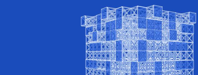 frame of modern building 3d illustration